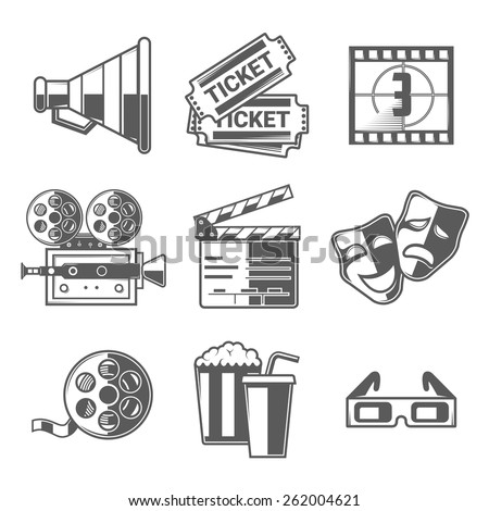 Cinema Icons Set (Megaphone, Tickets, Countdown, Camera, Clapper Board, Masks, Bobbin, Popcorn and Drink, Glasses). Black Outline Style. Vector Illustration. - stock vector