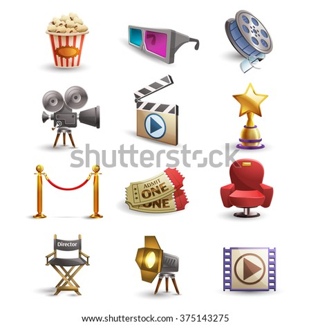 Cinema icons set with popcorn 3d glasses and film reel isolated vector illustration - stock vector