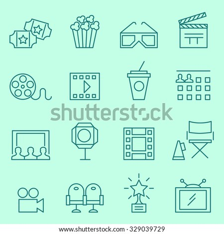 Cinema icons, thin line design - stock vector