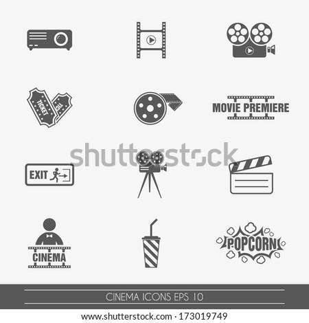 Cinema icons, vector. - stock vector