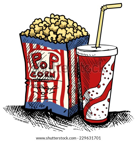 Cinema junk food, pack of pop corn and fizzy drink cup with straw, vector illustration - stock vector