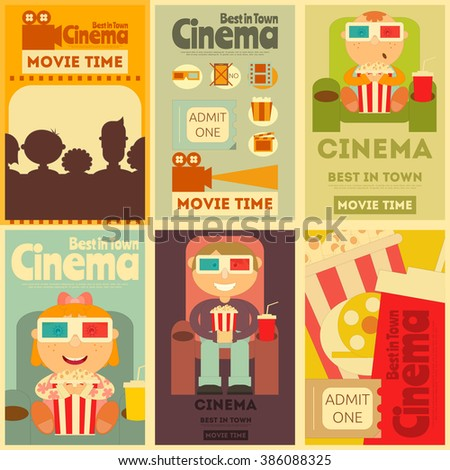 Cinema Mini Posters Set. Movie Collection Placards in Retro Style. People Watch Movies. Vector Illustration. - stock vector