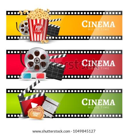 Cinema Movie Banner Poster Design Template Film Clapper 3D Glasses Popcorn
