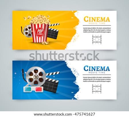 cinema movie banner poster design template film clapper 3d glasses popcorn cinema