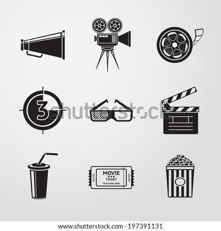 Cinema (movie) icons set with - cinema projector, film strip, 3D glasses,  clapboard, popcorn in a striped tub, cinema ticket, glass of drink. - stock vector
