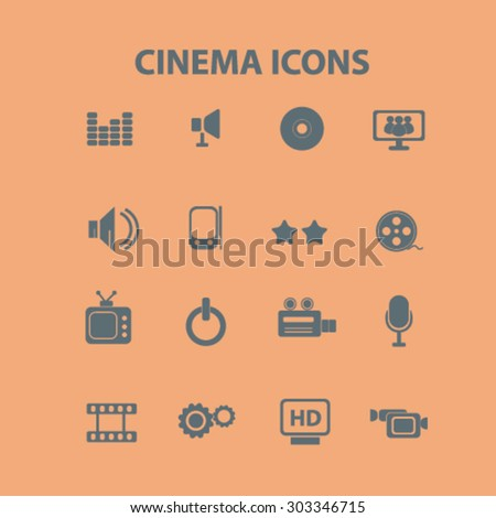 cinema, movie isolated flat web icons, signs, illustrations set, vector