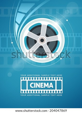 Cinema movie movie on disc and flares. Eps10 vector illustration.  - stock vector