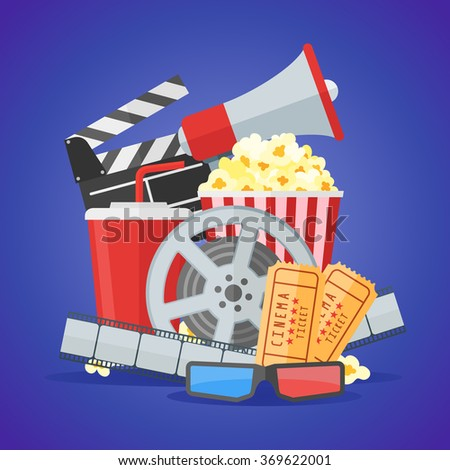 Cinema movie poster design template. Movie film reel and strip, ticket, popcorn, clapper board, soda takeaway, 3d glasses, megaphone on blue background. Vector illustration. - stock vector