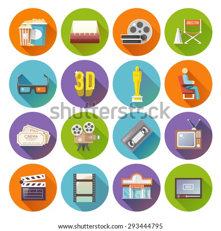 Cinema movie prize winning film production retro flat round shadow icons set bobbin abstract isolated vector illustration - stock vector