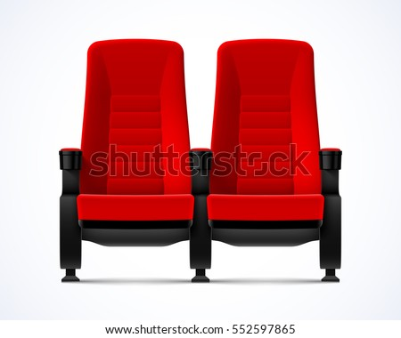 Beautiful Cinema Movie Theater Red Comfortable Chairs, Vector Illustration