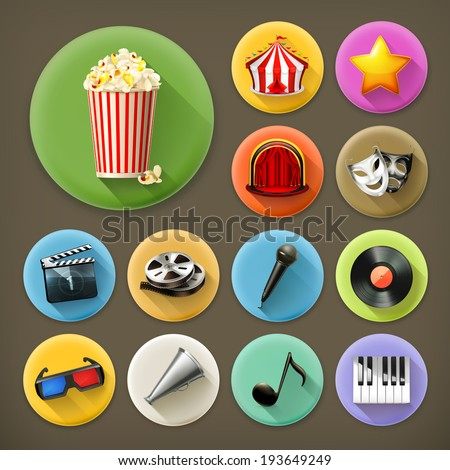 Cinema, music and theater, long shadow icon set - stock vector