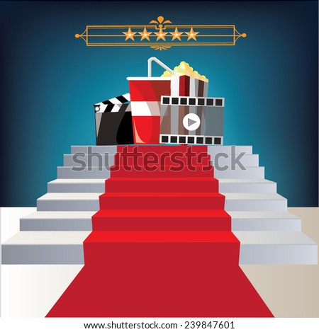 cinema on red Carpet,vector - stock vector