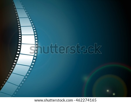 Cinema or Photo film strip with lens flare on dark background. EPS10 vector file