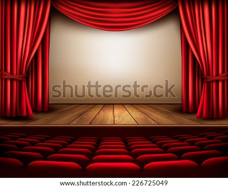 Cinema or theater scene with a curtain. Vector.  - stock vector