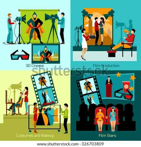 Cinema people design concept set with film production flat icons isolated vector illustration - stock vector
