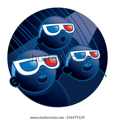 Cinema people watching a movie in 3D-glasses - stock vector