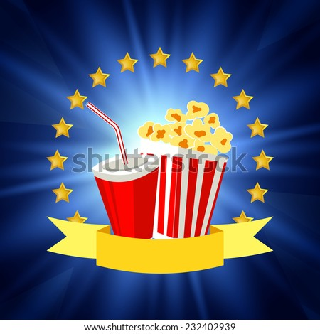 Cinema poster design elements such as ribbon,arch from gold stars, popcorn and soda. Vector illustration. - stock vector