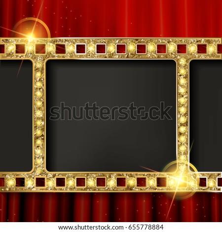 Cinema Poster Gold Frame On Background Vector de stock655778884 ...
