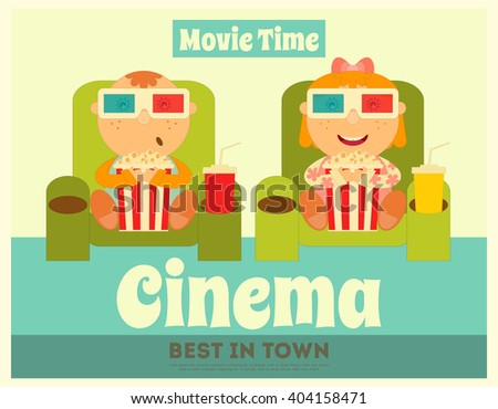 Cinema Poster. Movie Placard. Kids Watch Movies. Vector Illustration. - stock vector