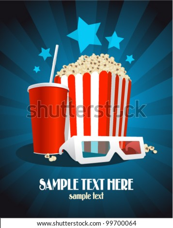 Cinema poster with popcorn box, cola and 3D glasses.