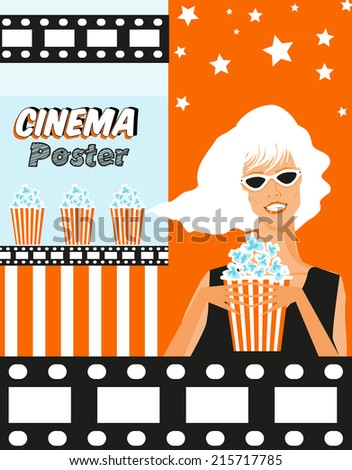 Cinema poster with woman and paper container full of popcorn illustration background  - stock vector