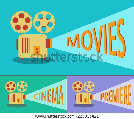 Cinema retro projector highlights words movies, cinema, premiere. Template vector concept. - stock vector