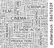 CINEMA. Seamless vector background. Illustration with different association terms. - stock photo