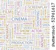 CINEMA. Seamless vector pattern with word cloud. - stock vector