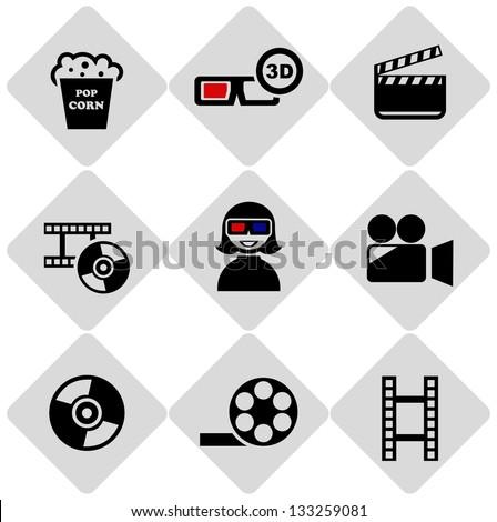 cinema symbols icons - stock vector