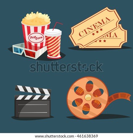 Cinema symbols 4 retro style icons composition with clapboard camera and movie theater seat cartoon isolated illustration