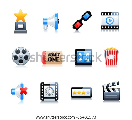 Cinema symbols vector set - stock vector