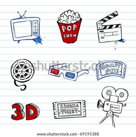 Cinema symbols vector set, hand-drawn icons - stock vector
