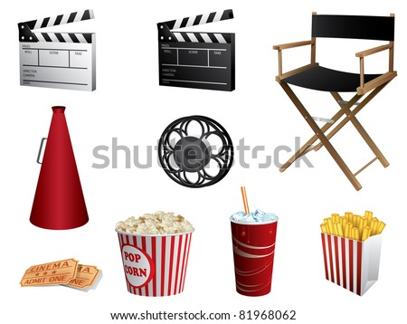 Cinema symbols vector set isolated on white - stock vector