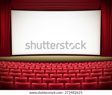 cinema theater background with red seats and red curtains  - stock vector