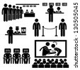 Cinema Theater Movie Moviegoers Film People Man Stick Figure Pictogram Icon - stock photo