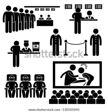 Cinema Theater Movie Moviegoers Film People Man Stick Figure Pictogram Icon - stock vector