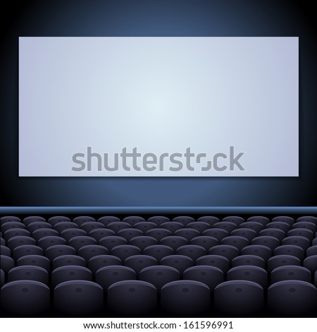 Cinema theatre with screen and seats. - stock vector