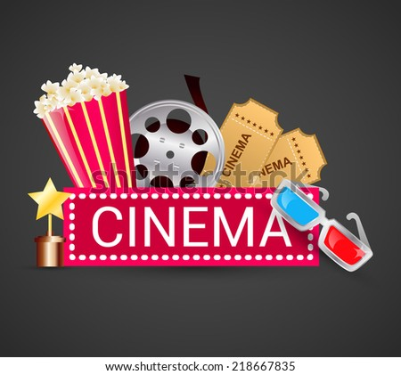 Cinema ticket filmstrip award icons elements movie concept vector illustration - stock vector