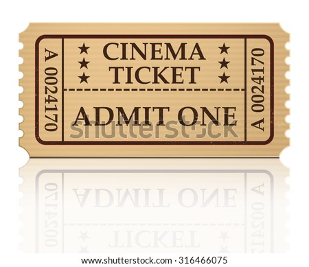 cinema ticket vector illustration isolated on white background - stock vector