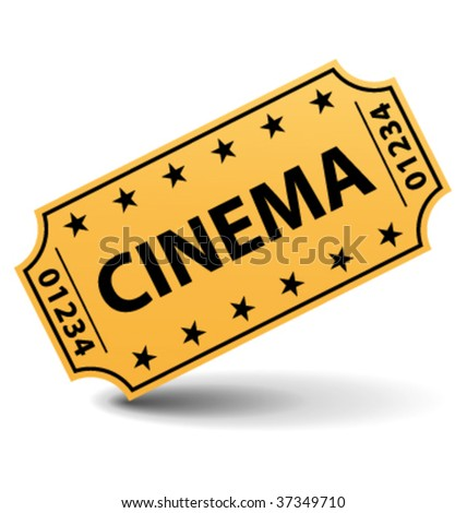 Cinema ticket with shadow.  Vector illustration. - stock vector