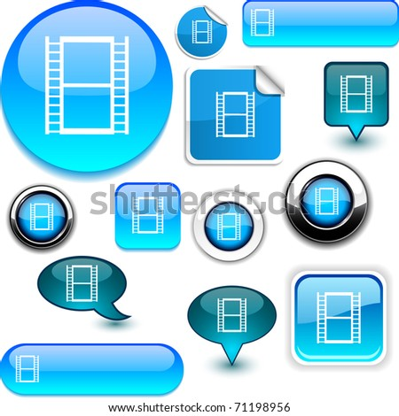 Cinema vector glossy icons. - stock vector