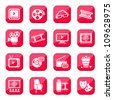 Cinema vector icon set for web and mobile. All elements are grouped. - stock vector