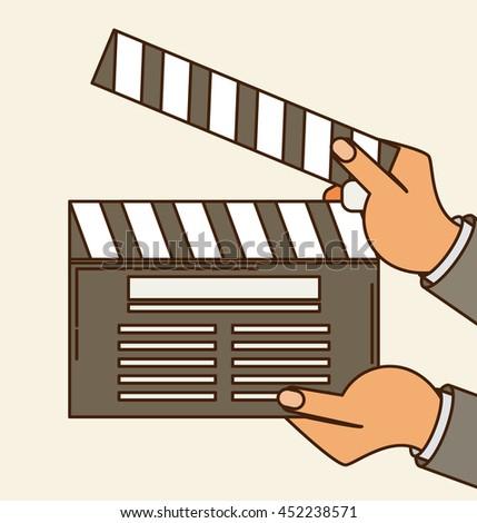 Cinema vector. Lights, camera, action flat vector - stock vector