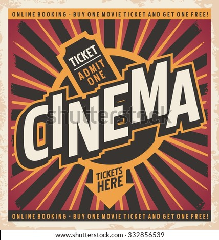 Cinema vintage poster design concept. Retro background illustration on old paper texture. - stock vector
