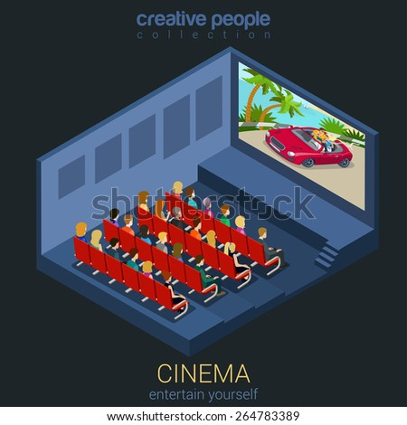 Cinema watch movie in theater template mockup concept flat 3d isometric web infographic vector. Creative people entertainment collection. Build your own world.  - stock vector