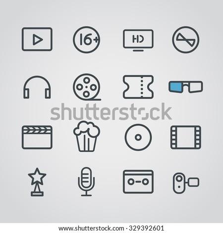 Cinema web silhouettes collection - stock vector