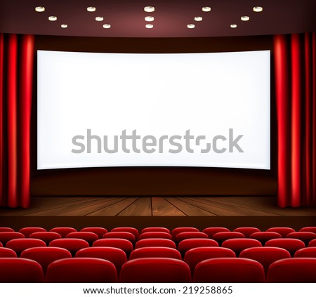 Cinema with white screen, curtain and seats. Vector. - stock vector