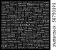 CINEMA. Word collage on black background. Illustration with different association terms. - stock vector