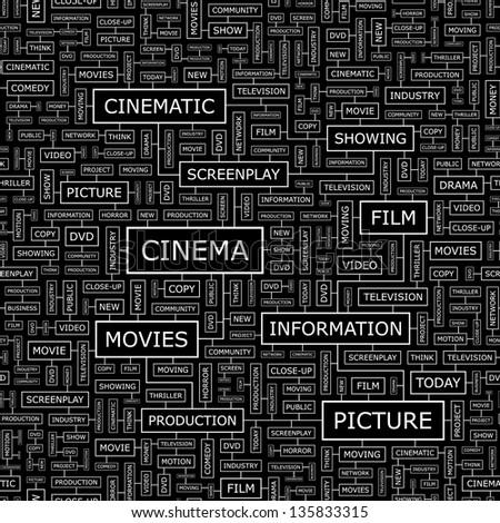 CINEMA. Word collage. Seamless illustration. - stock vector