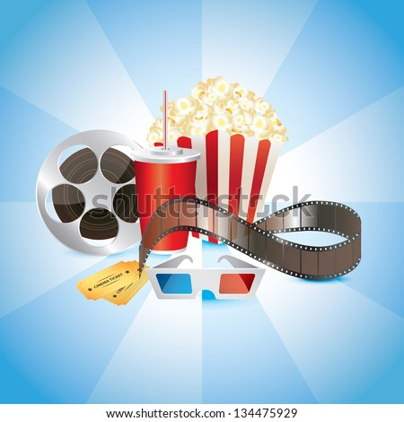 cinematograph, film, popcorn, cola, and 3D glasses photo-realistic vector - stock vector
